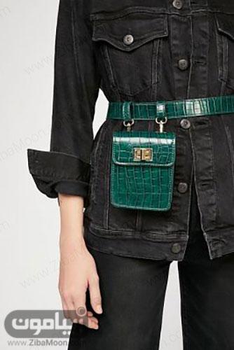مدل کیف کمری چرم زنانه به رنگ سبز تیره