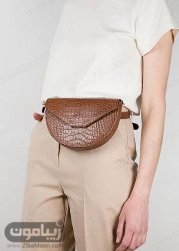 کیف کمری چرم زنانه قهوه ای