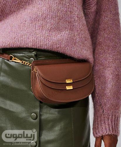 کیف کمری چرم قهوه ای زنانه