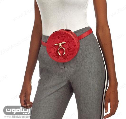 کیف کمری گرد فانتزی قرمز رنگ برای خانم ها