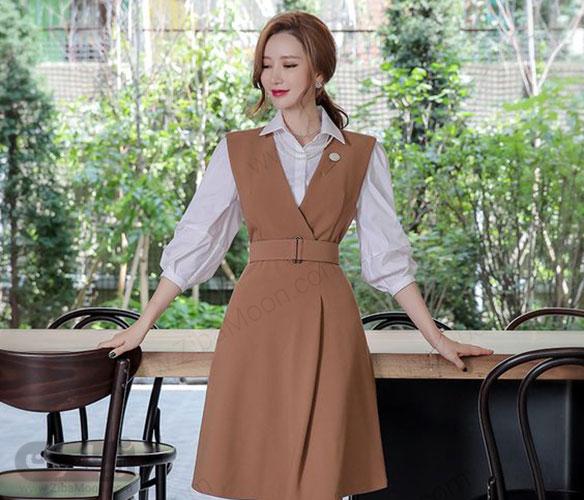 مدل سارافون شیک و مجلسی کره ای به رنگ کرمی