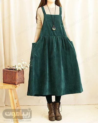 مدل سارافون دخترونه بلند با پارچه مخمل سبز