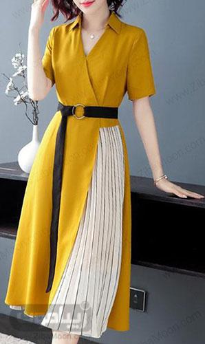 مدل سارافون زنانه یا آستین کوتاه و رنگ خردلی
