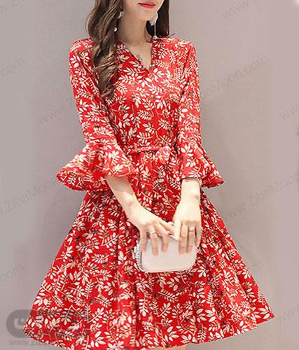 مدل سارافون گل گلی قرمزآستین دار مجلسی