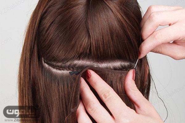 اکستنشن مو به روش دوخت
