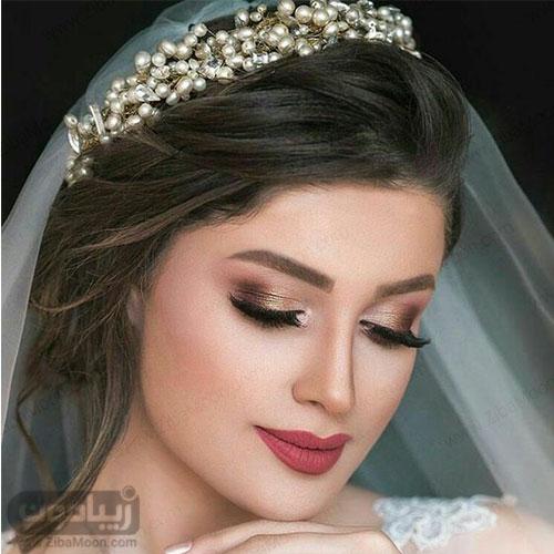 مدل میکاپ عروس با سایه درخشان و شیک و موهای مشکی و زیبا
