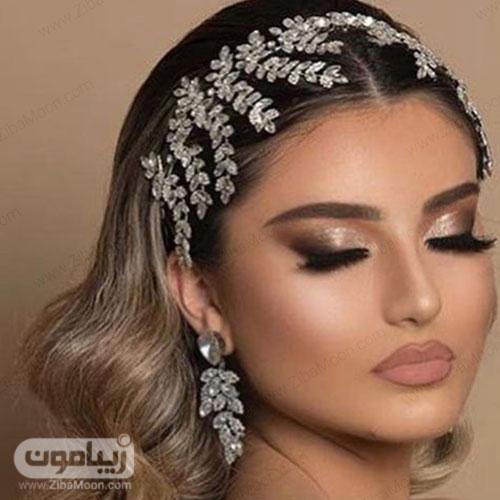 مدل آرایش عروس عربی با سایه چشم براق و رژلب نوود