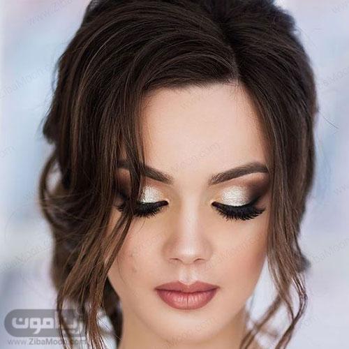 مدل آرایش عروس اروپایی با سایه شاین دار و رژلب جذاب