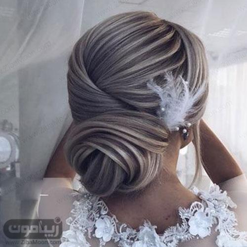 مدل شینیون خطی ساده و مرتب برای عروسی