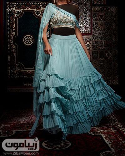 لباس هندی جذاب به رنگ آبی روشن به همراه ساری و دامن چین دار