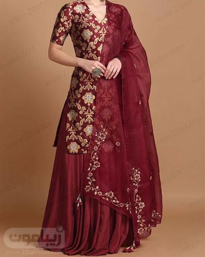 لباس هندی با تونیک گلدار و دامن و ساری زرشکی