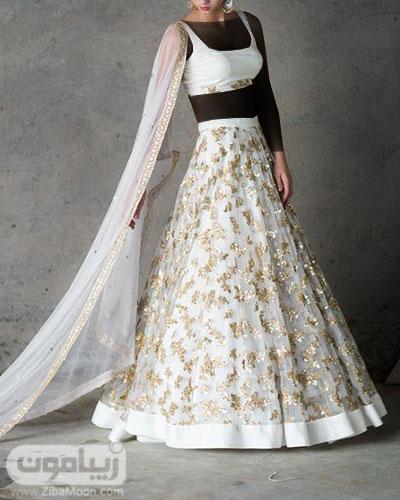 لباس مجلسی هندی به رنگ سفید و گلدوزیهای طلایی جذاب و شیک