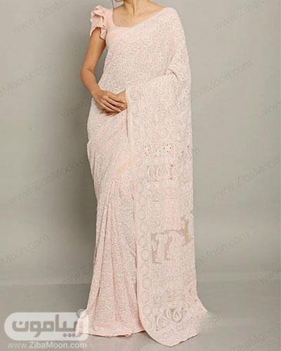 لباس هندی ساده و مجلسی به رنگ صورتی خیلی روشن