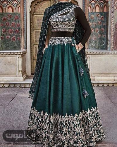 لباس هندی سبز جذاب با طراحی سنتی و خیره کننده