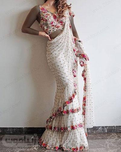 لباس مجلسی هندی شیک با نیم تنه گلدار و ساری سفید مروارید دوزی شده