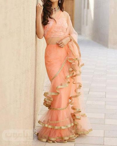 لباس هندی دخترانه شیک به رنگ گلبهی با طراحی جدید