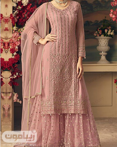 مدل لباس هندی زیبا به رنگ صورتی با تونیک و دامن بلند و ساری حریری