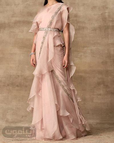 لباس هندی صورتی با طراحی مدرن و جدید با پارچه حریری و ساری چین چینی
