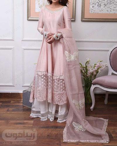 لباس هندی دخترانه مجلسی ساده به رنگ صورتی ملایم