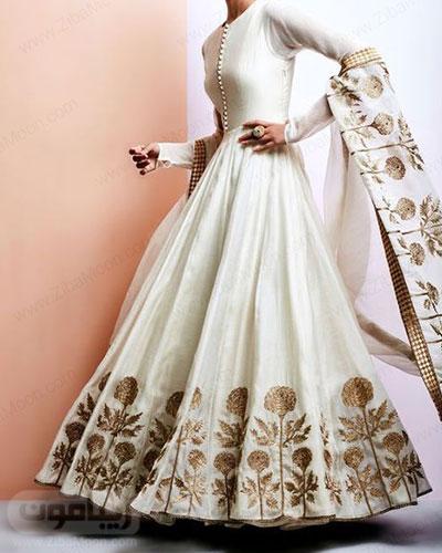 لباس هندی مجلسی سفید آستین بلند با جزئیات طلایی