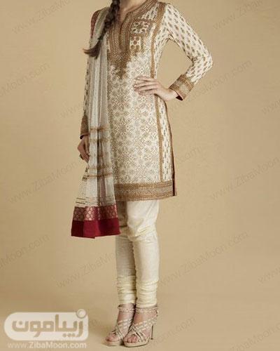 مدل تونیک و شلوار هندی شیک و زیبا به رنگ شیری با جزئیات طلایی