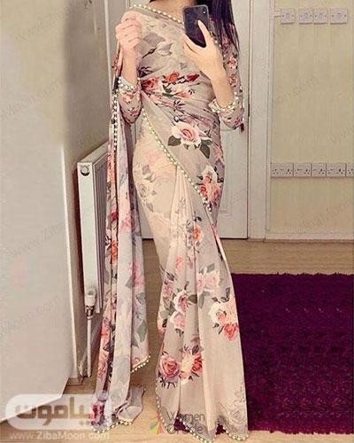 مدل لباس هندی زیبا با پارچه حریری گلدار