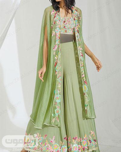 مدل لباس هندی سبز دخترانه با طراحی جدید و مدرن و گلدوزیهای ظریف و رنگارنگ