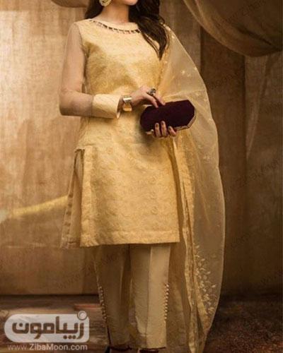 مدل لباس هندی ساده دخترانه با تونیک و شلوار کرمی