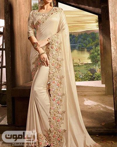 مدل لباس هندی زیبا با حریر و گلدوزیهای ظریف و جذاب