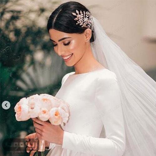 مدل مو ساده عروس با اکسسوری خاص