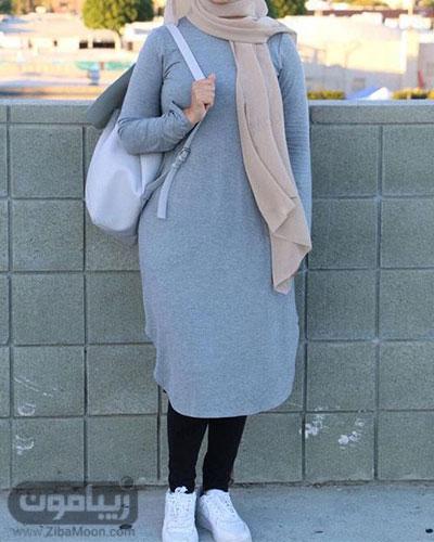استایل دانشجویی دخترانه با مانتو جلوبسته بلند و باحجاب