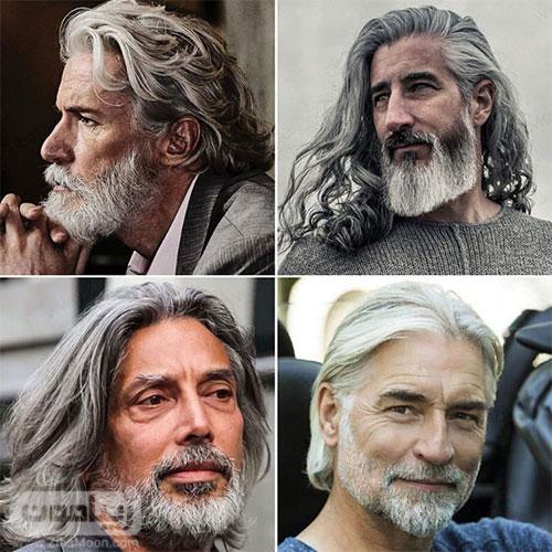 مدل مو بلند مردانه به رنگ خاکستری