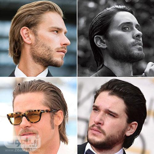 مدل مو بلند مردانه صاف و حالت داده شده به سمت پشت سر