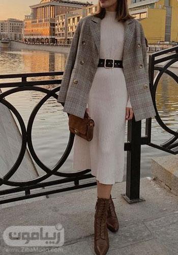 مدل استایل پاییزی زنانه با پالتو چهارخانه کوتاه و دامن بلند