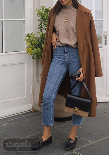 مدل استایل پاییزی دخترونه با پالتو قهوه ای و شلوار جین