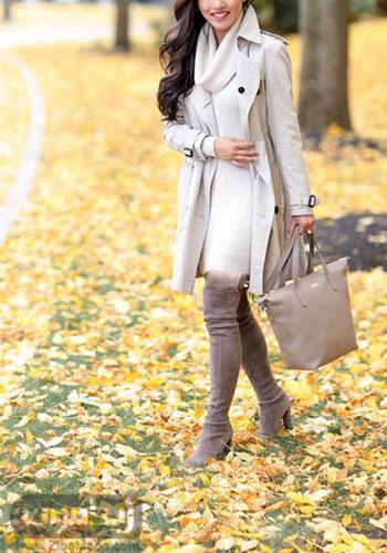 مدل تیپ پاییزی دخترانه با رنگهای ملایم و بوت بلند توسی