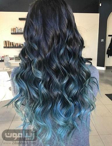 هایلایت آبی روی موهای مشکی