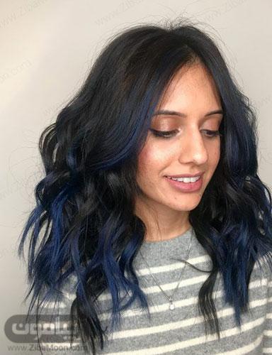 رنگ مو مشکی با هایلایت آبی تیره
