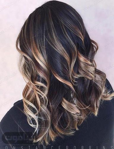 هایلایت بلوند و روشن روی مو مشکی