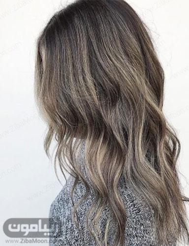 هایلایت مو نقره ای روی مو مشکی