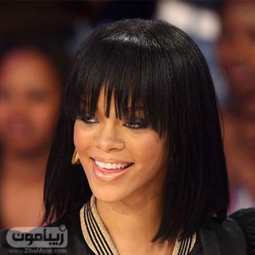 ریحانا با مدل مو مصری و چتری کوتاه