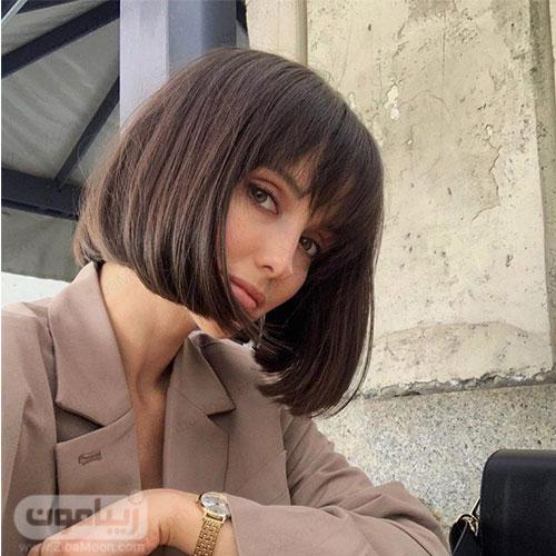 مدل مو مصری دخترانه به سبک فرانسوی با چتری کوتاه