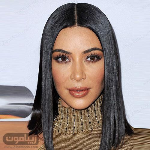 کیم کارداشیان با مدل مو مصری بلند به رنگ مشکی
