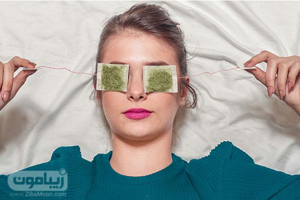چای سبز کیسه ای روی چشم