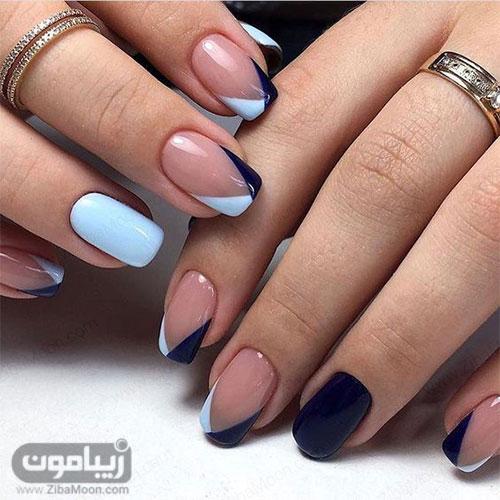 دیزاین ناخن جذاب با لاکژل آبی و سورمه ای