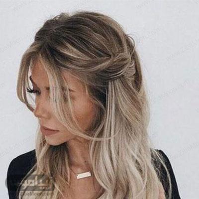 مدل مو فرق وسط جذاب با موهای بلند و باز برای زیر روسری