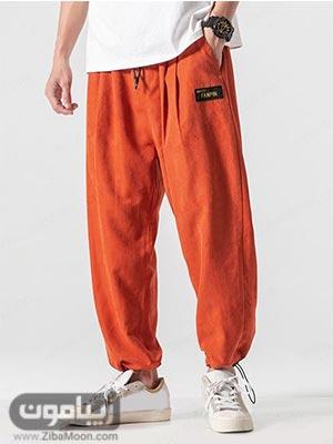 مدل شلوار اسلش گشاد به رنگ نارنجی