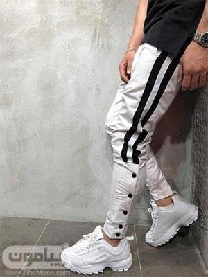 مدل شلوار اسلش پسرانه جدید و شیک به رنگ سفید