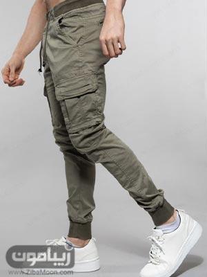 مدل شلوار اسلش مردانه شیک و جذاب به رنگ سبز زیتونی