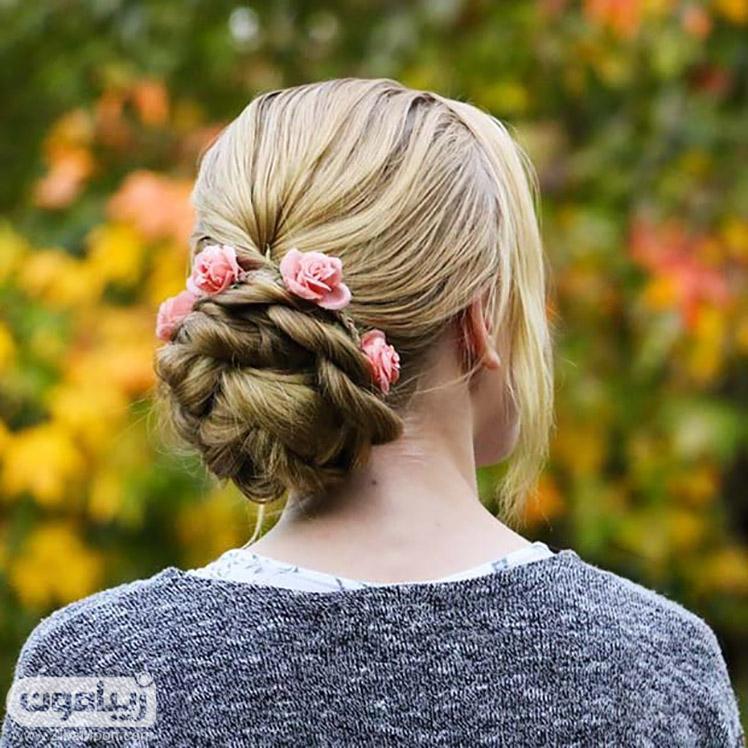 شینیون ساده و گل های طبیعی